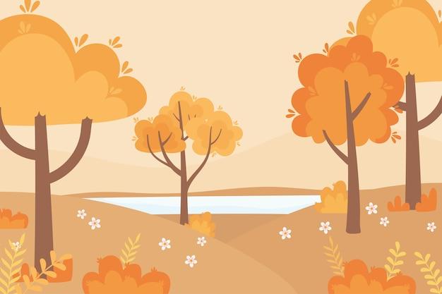 Paysage en automne scène de nature, arbres forestiers fleurs herbe en plein air