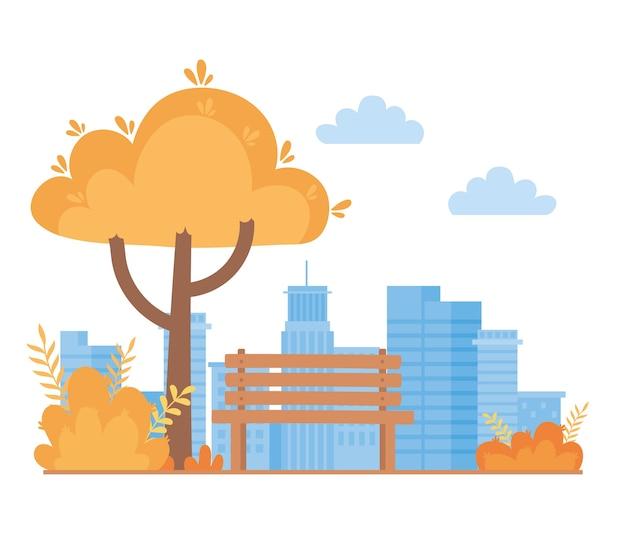 Paysage en automne scène de nature, buissons d'arbres banc parc et fond de ciel de paysage urbain