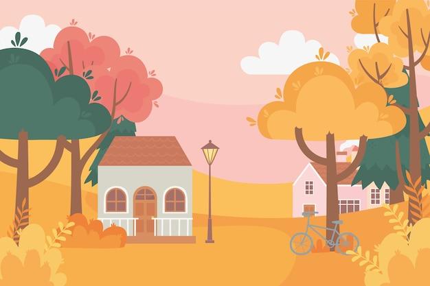 Paysage en automne scène de la nature, maisons vélo lampadaire arbres forêt prairie