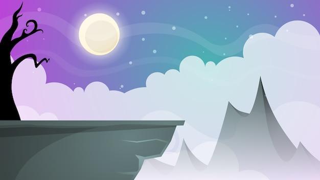 Paysage de bande dessinée de nuit de voyage. arbre, montagne, comète, étoile, moo