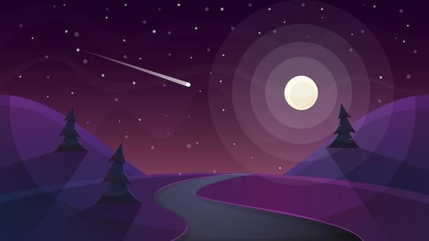 Paysage de bande dessinée de nuit de voyage. sapin, comète, étoile, lune, route malade
