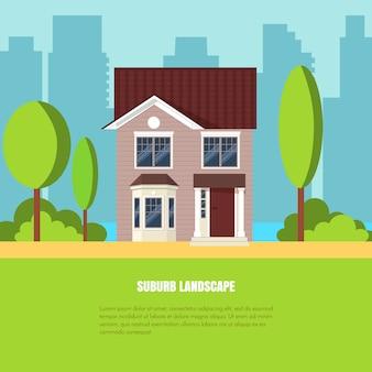 Paysage de banlieue élégant moderne avec maison, arbres en cour sur l'herbe verte et la ville backgrou