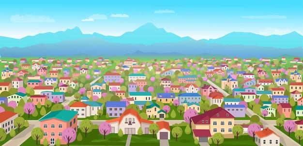 Paysage de banlieue. vue sur les immeubles de grande hauteur et la campagne. illustration vectorielle de dessin animé