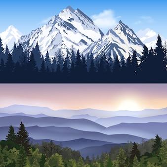Paysage de bannières de montagnes