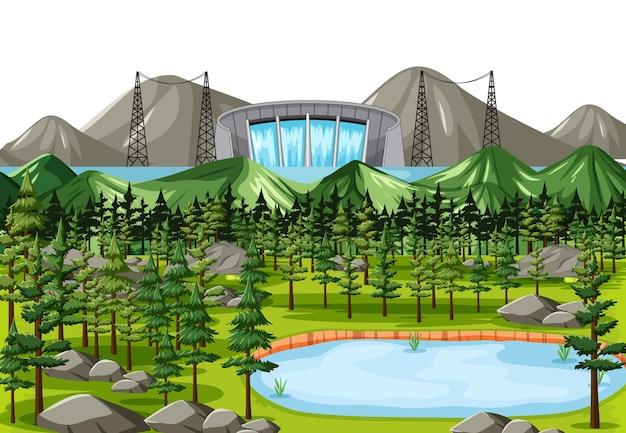 Paysage avec barrage d'eau
