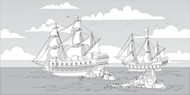 Paysage avec des bateaux pirates et vieux différents bateaux en bois avec des drapeaux flottants coloriage pour les enfants. paysage marin, ciel bleu, nuages et récifs.