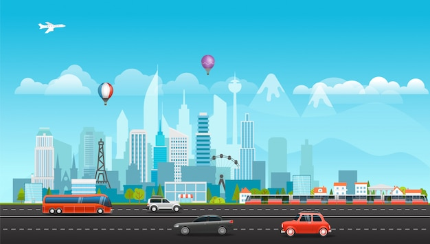 Paysage avec des bâtiments, des montagnes et des véhicules.