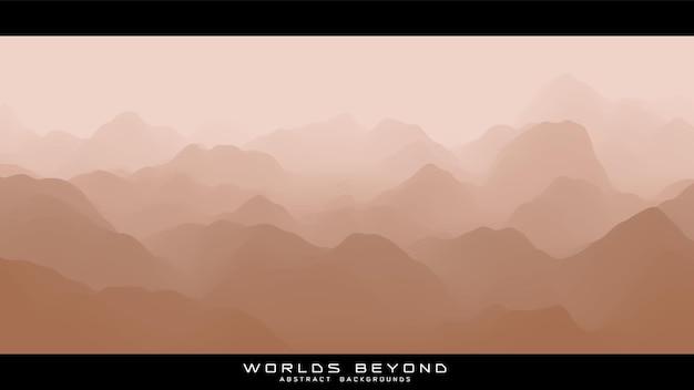 Paysage beige abstrait avec brouillard brumeux jusqu'à l'horizon sur les pentes des montagnes