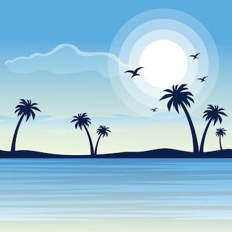 Paysage de la belle plage au lever du soleil de la nature