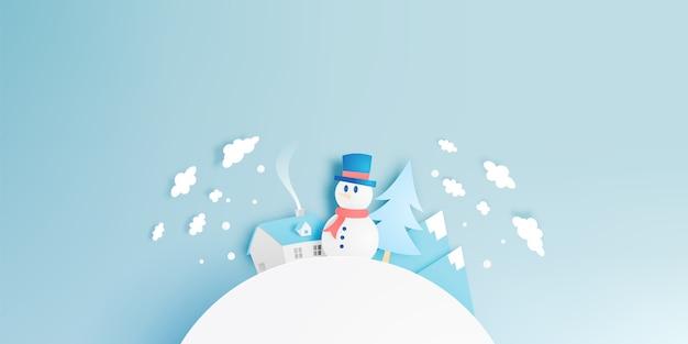 Paysage de bonhomme de neige et d'hiver avec style art papier et jeu de couleurs pastel vecteur illustrat