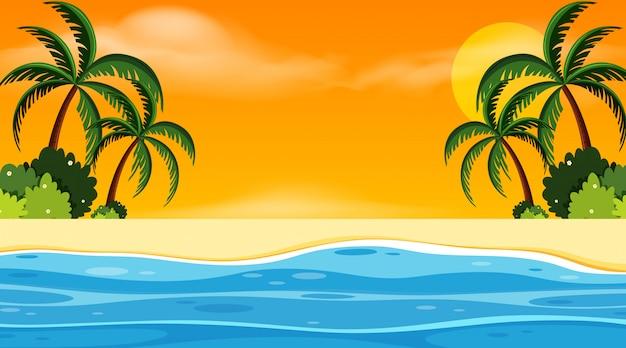 Paysage avec bord de mer au coucher du soleil