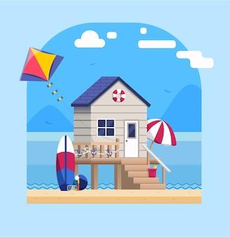 Paysage de bord de mer avec bungalow de plage dans un style plat