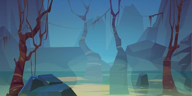 Paysage brumeux avec marais et montagnes