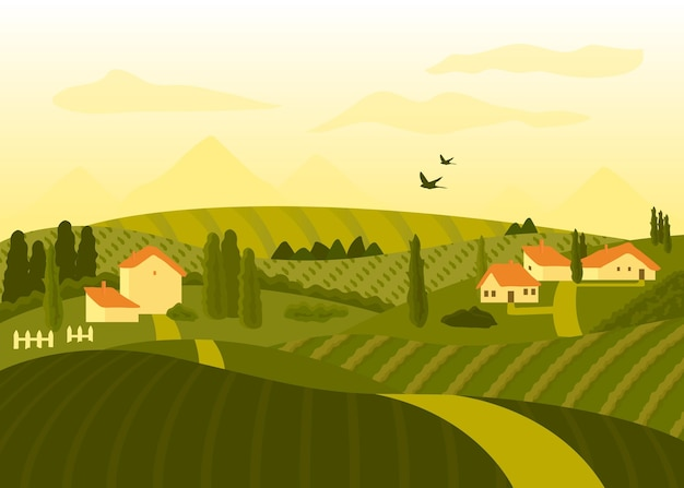 Paysage de campagne au coucher du soleil