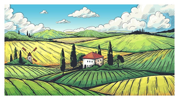 Paysage de campagne. croquis de terrain de ferme biologique avec ferme rurale, champs sur les collines et village. étiquette d'illustration vectorielle avec des peintures pays prairie et terres agricoles