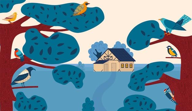 Paysage de campagne d'été de dessin animé avec chalet de ferme parmi les arbres de la forêt