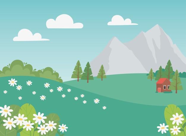 Paysage de campagne maison fleurs arbres et montagnes scène illustration