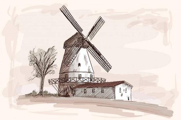 Paysage de campagne avec des maisons en bois et un moulin. croquis à la main au crayon sur fond beige.