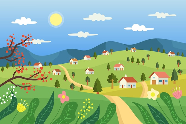 Paysage de campagne avec maisons