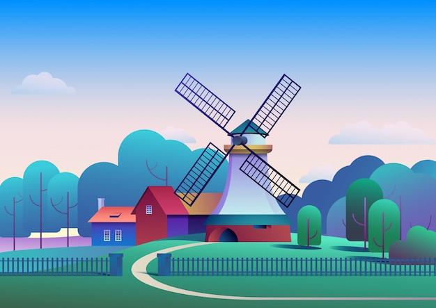 Paysage de campagne avec moulin et ferme sur arbres de prairies et forêt sur fond