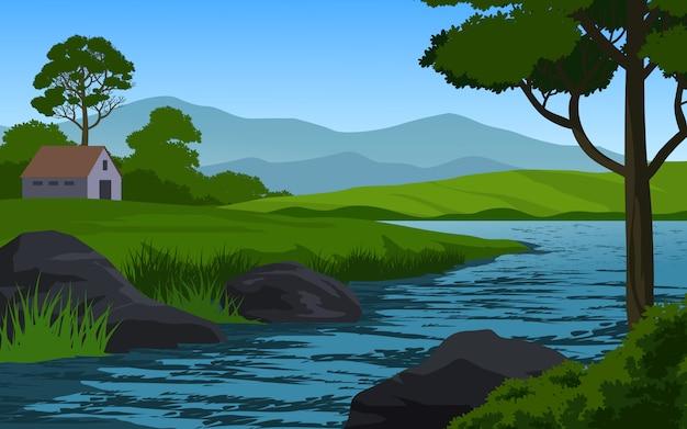 Paysage de campagne avec rivière et gros rochers