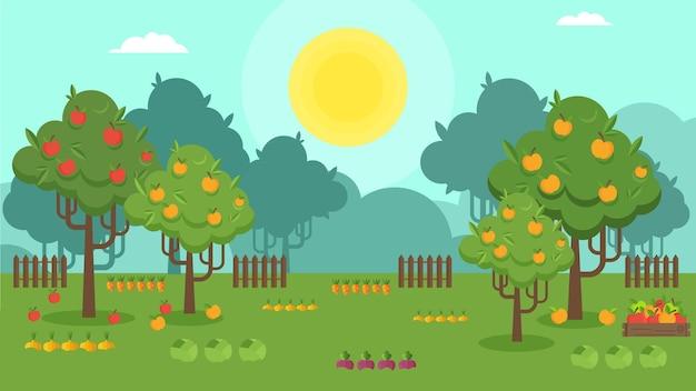 Paysage de campagne de vecteur avec des arbres fruitiers. verger de pommiers.