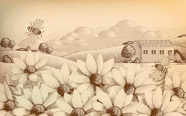 Paysage de campagne vintage en style gravure, fleurs sauvages et abeilles