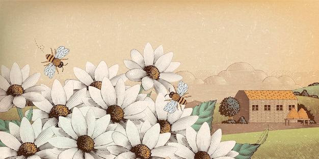Paysage De Campagne Vintage En Style Gravure, Fleurs Sauvages Et Abeilles Vecteur Premium