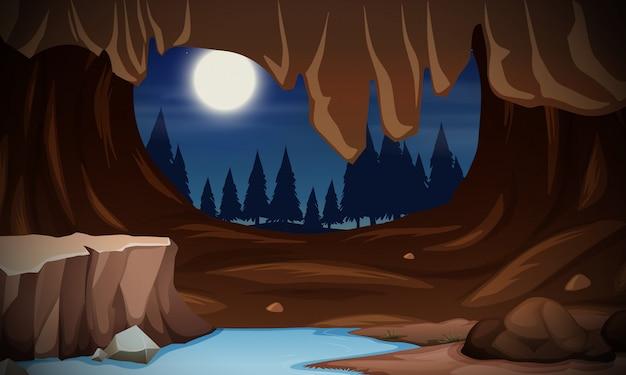 Un paysage de caverne au clair de lune