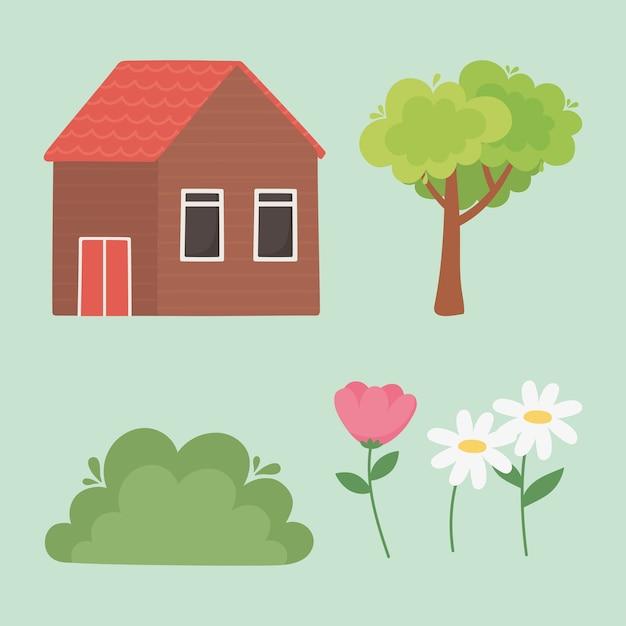Paysage chalet fleurs arbre bush nature icons set
