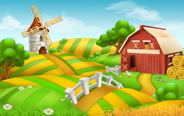 Paysage de champ agricole. fond 3d