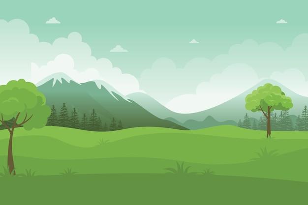 Paysage de champs d'été avec arbres, montagnes, ciel bleu, beau parc verdoyant