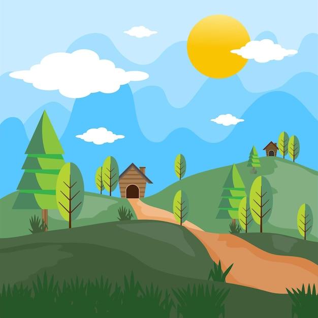 Paysage de champs d'été avec une aube