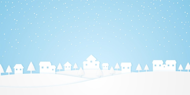 Paysage, château sur colline avec arbres et neige tombant en hiver, style art papier
