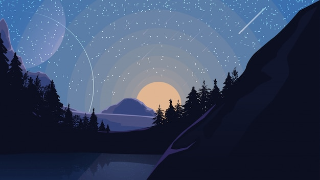 Paysage avec ciel étoilé