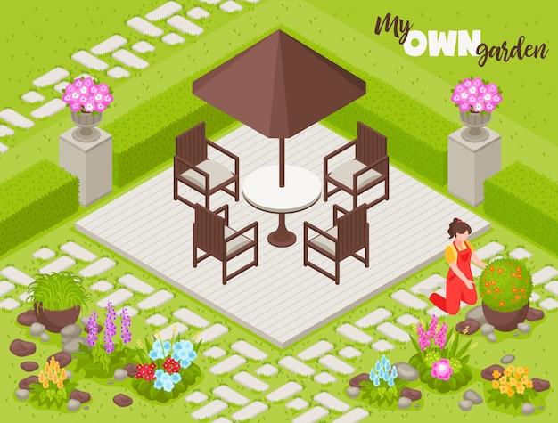 Paysage avec clôture fleurs et plantes isométrique