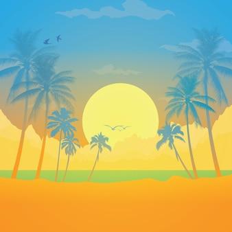 Paysage avec des cocotiers au fond du coucher du soleil