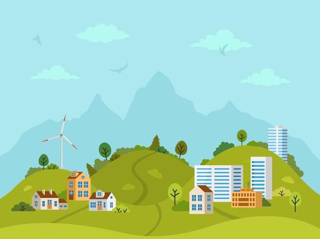 Paysage de collines rurales avec maisons et bâtiments