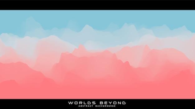 Paysage coloré abstrait avec brouillard brumeux jusqu'à l'horizon sur les pentes des montagnes.