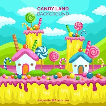 Paysage coloré de bonbons