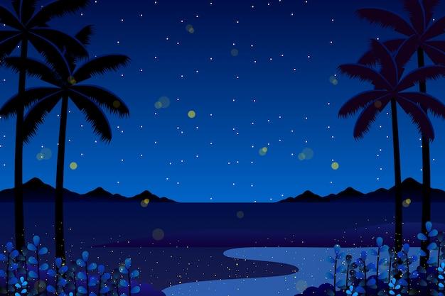 Paysage coloré fond de nuit de ciel bleu