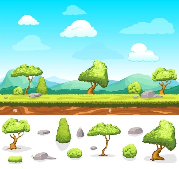 Paysage de conception de jeux d'été