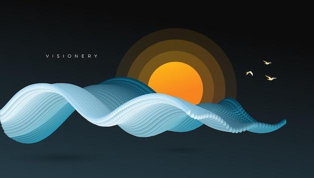 Paysage conceptuel du lever du soleil avec onde de particules dynamique