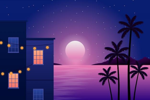 Paysage de construction et silhouette de cocotier avec ciel nocturne et mer