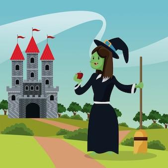 Paysage de conte de château sorcière laid