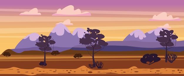 Paysage coucher de soleil campagne d'été vue rurale sauvage ouest montagnes arbres buissons désert de savane