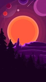 Paysage avec coucher de soleil derrière les montagnes