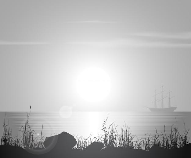Paysage avec coucher de soleil sur mer