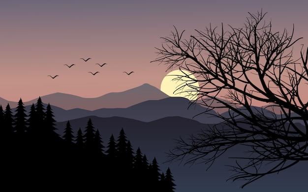 Paysage coucher de soleil de montagne avec des branches d'arbres
