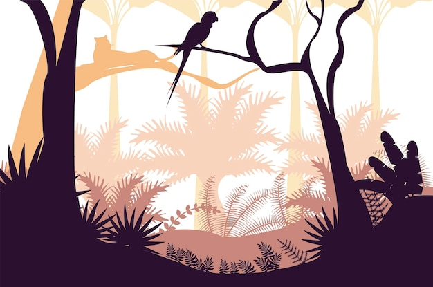 Paysage de coucher de soleil nature sauvage jungle avec scène de perroquet